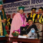 President Bidya Devi Bhandari confers the honorary PhD degree on writer Jhamak Kumari Ghimire, who is struggling with cerebral palsy, at a special convocation ceremony of Mid-Western University, in Kathmandu, on Monday, September 5, 2016. Photo: President's Office